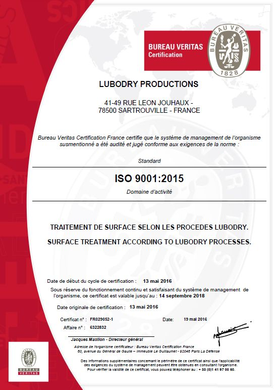 Certification ISO 9001 : 2015 attribuée à LUBODRY Productions !