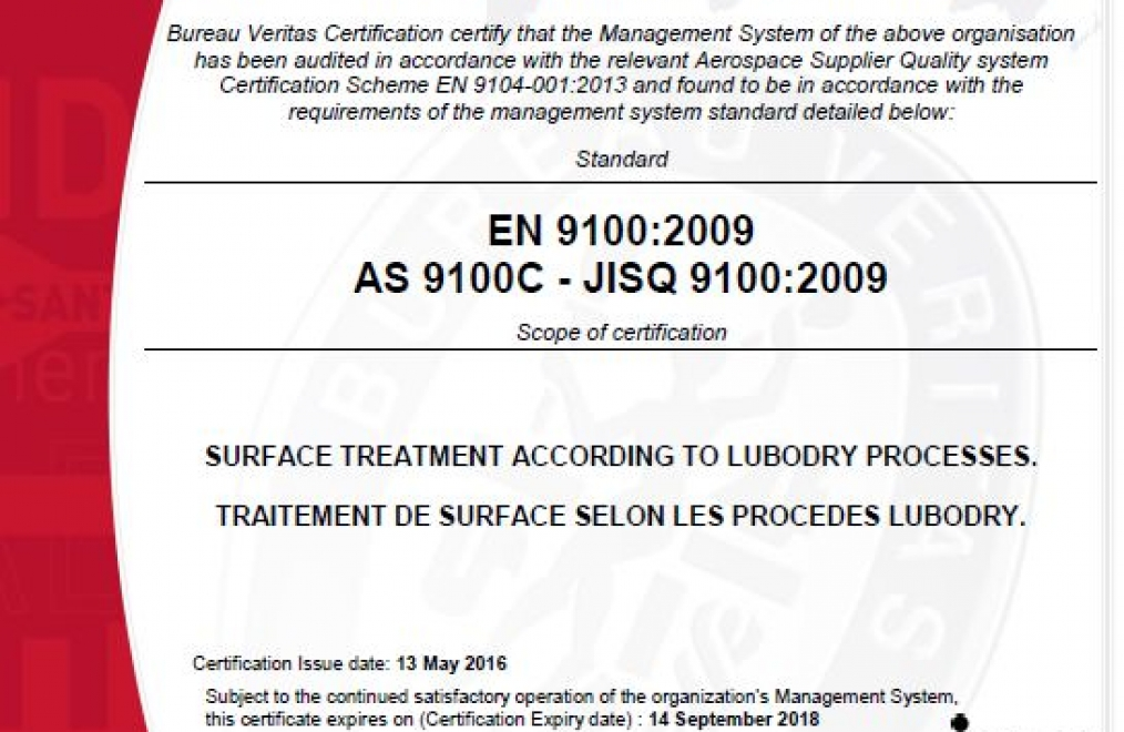EN 9100 : 2009 / AS 9100 C / JISQ 9100 : 2009 Certification granted to LUBODRY Productions !
