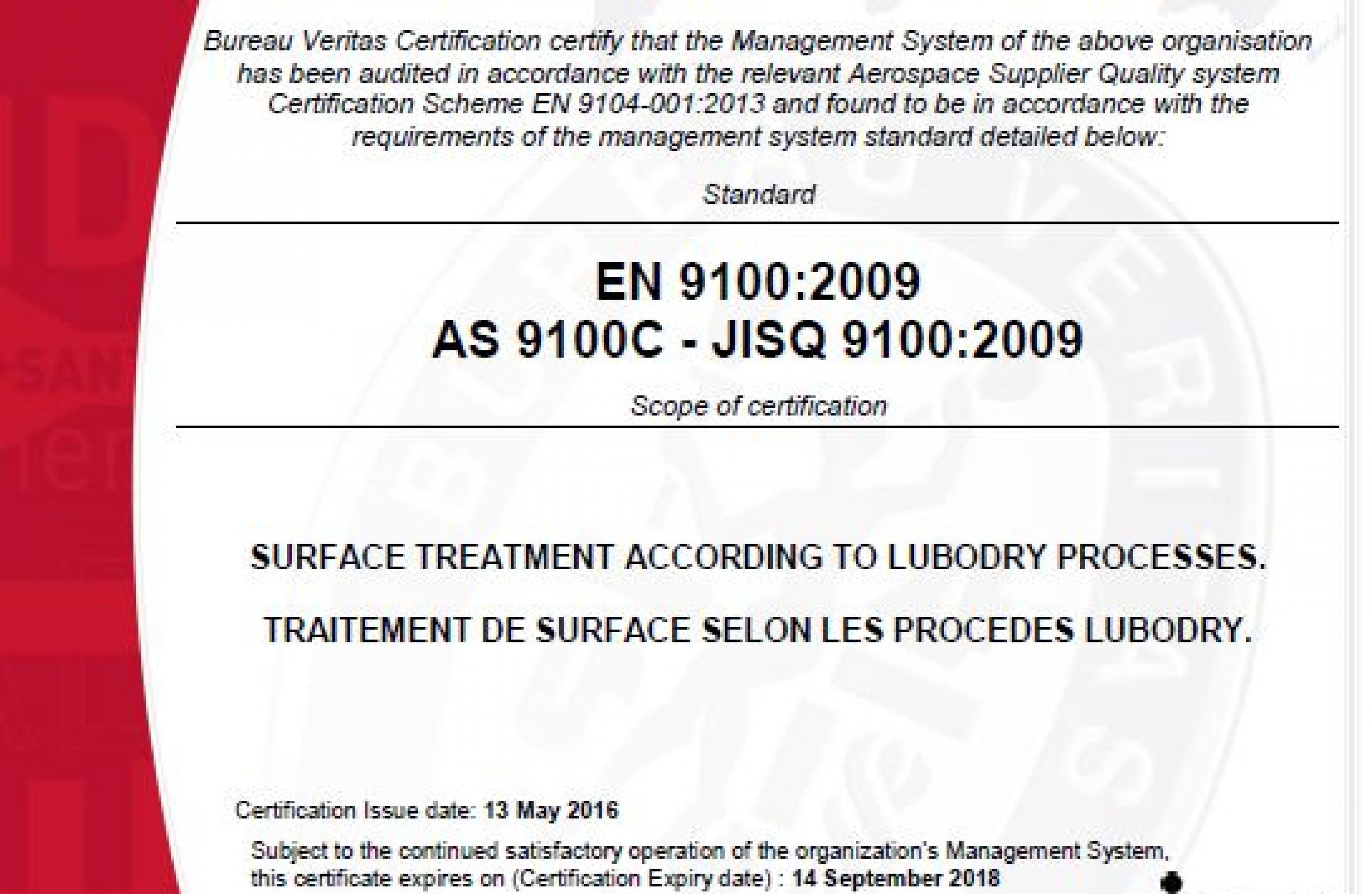 Certification EN 9100 : 2009 / AS 9100 C / JISQ 9100 : 2009 attribuée à LUBODRY Productions !