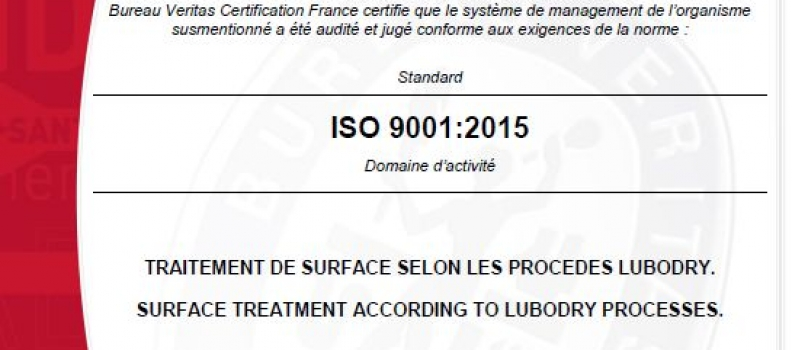 ISO 9001 : 2015 Certification granted to LUBODRY Productions !